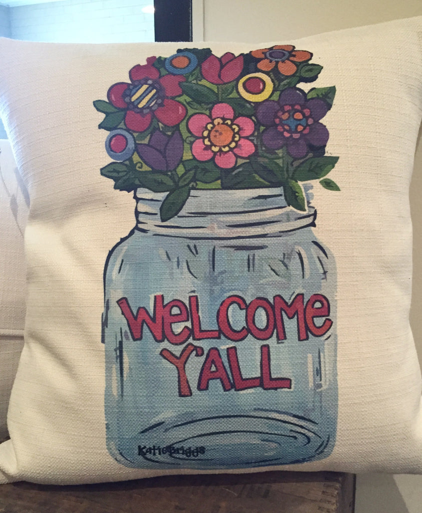 Southern Roots Pillow Welcome Y'all-Southern Roots-The Bugs Ear