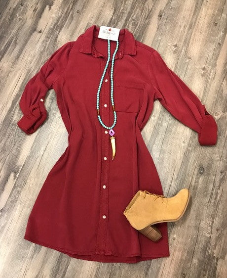 Deep Red Safari Tencel Shirt Dress-Glam-The Bugs Ear