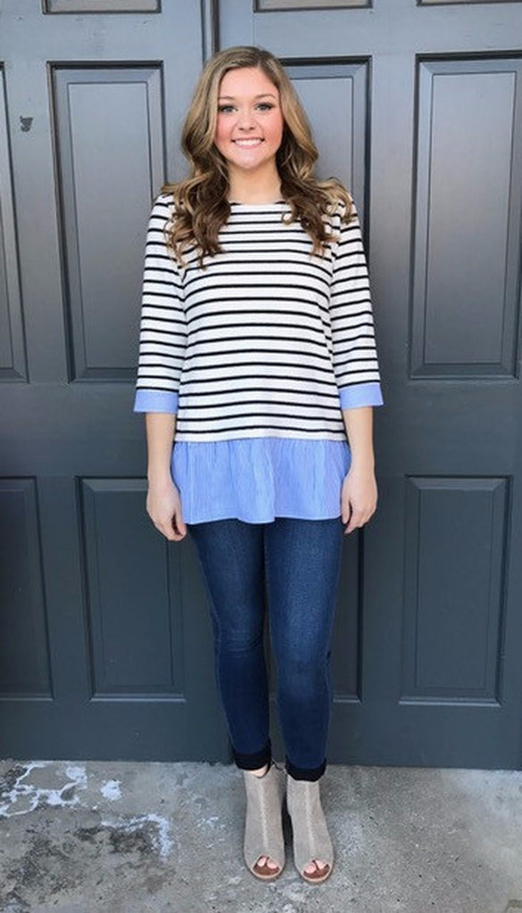 Amanda 3/4 Sleeve Stripe Knit Top With Ruffle-THML-The Bugs Ear