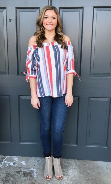Mallory Off Shoulder Stripe Top-THML-The Bugs Ear