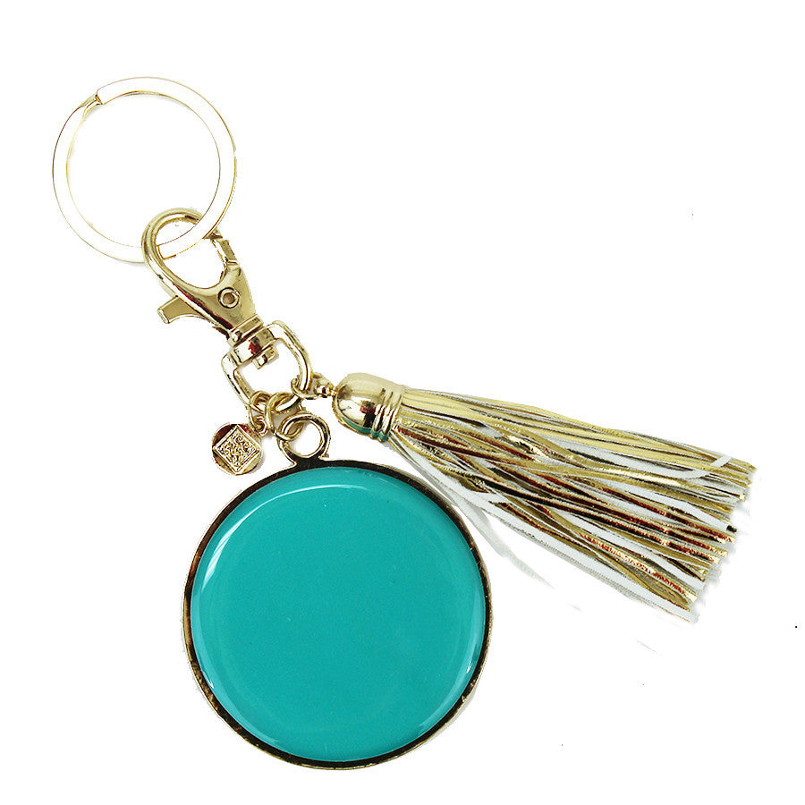 Teal Disc With Tassel Key Chain-Mary Square-The Bugs Ear