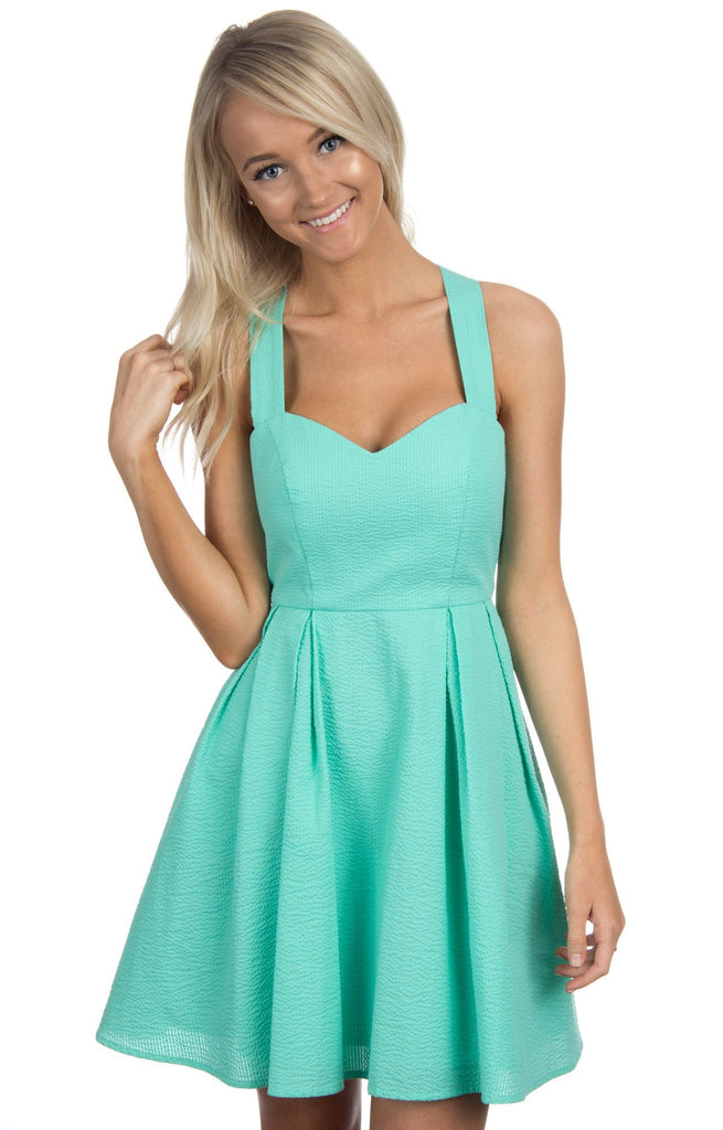 Lauren James Livingston Seersucker Dress Seafoam-Lauren James-The Bugs Ear
