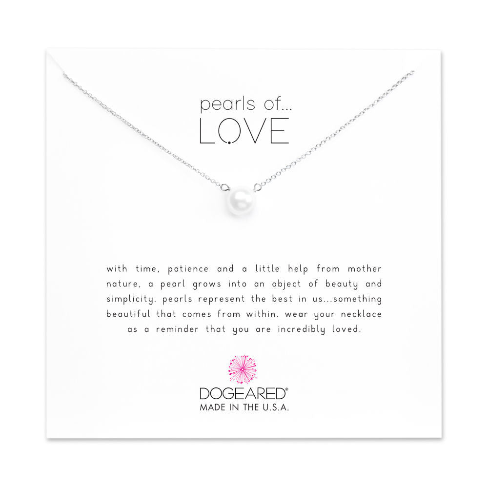 Dogeared Pearls of Love Small White Pearl Necklace, Sterling Silver-Dogeared-The Bugs Ear