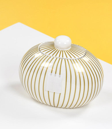 Happy Everything Mini Cookie Jar Gold Stripe-Coton Colors-The Bugs Ear