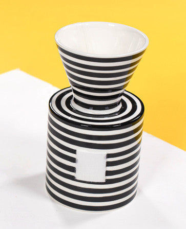 Happy Everything Mini Vase Black Stripe-Coton Colors-The Bugs Ear