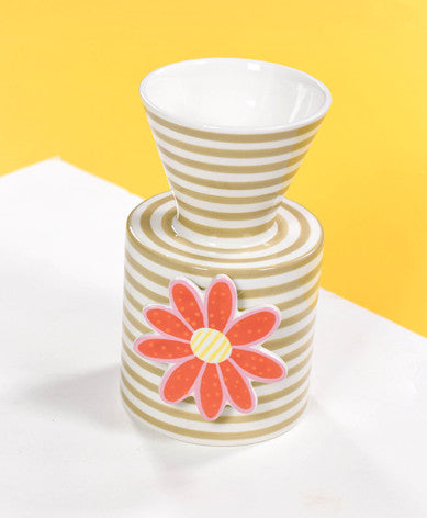 Happy Everything Mini Vase Neutral Stripe-Coton Colors-The Bugs Ear