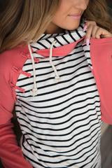 Ampersand Ave Knotted Coral Sleeve Double Hooded Sweatshirt-Ampersand Ave-The Bugs Ear