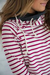 Ampersand Ave Knotted Magenta Stripe DoubleHood Sweatshirt-Ampersand Ave-The Bugs Ear