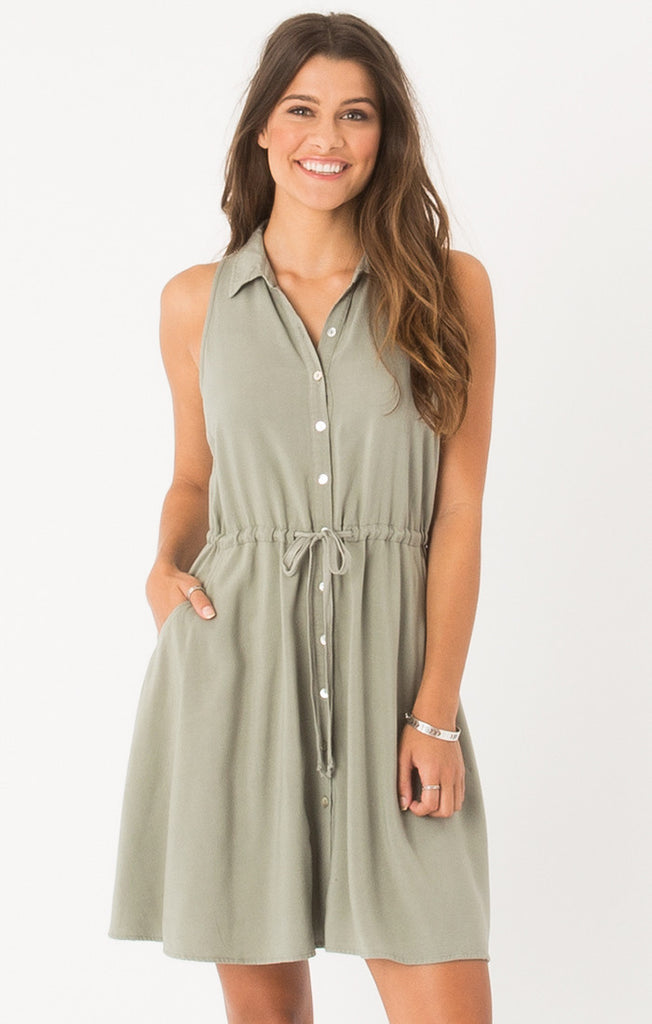 Maddox Sleeveless Shirt Dress in Gull-Others Follow-The Bugs Ear