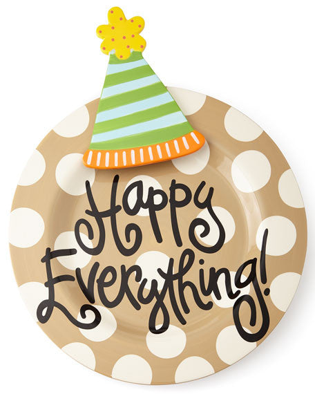 Happy Everything Big Platter Neutral Dot with Party Hat Attachment-Coton Colors-The Bugs Ear