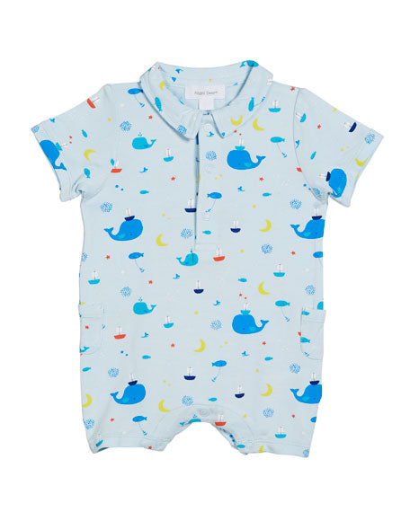 Angel Dear Nautical Whales Collared Shortall Size 3-6 Months-Angel Dear-The Bugs Ear