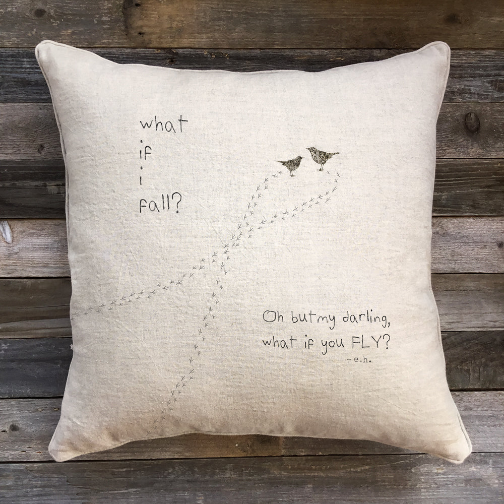 What if I Fall Pillow Natural Linen-Sweet Gumball-The Bugs Ear