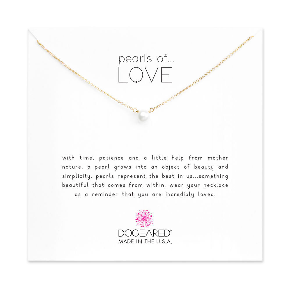 Dogeared Pearls of Love Small White Pearl Necklace, Gold Dipped-Dogeared-The Bugs Ear