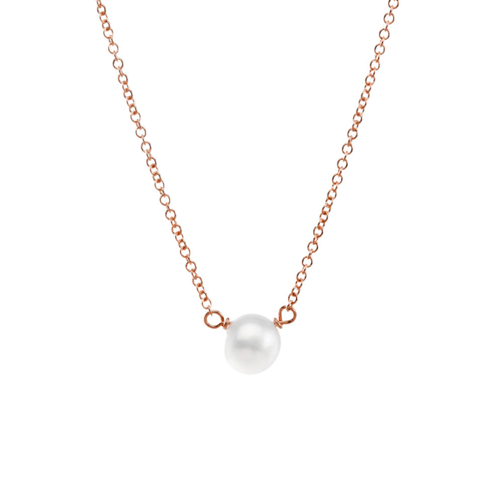 Dogeared Pearls of Happiness White Pearl Necklace, Rose Gold-Dogeared-The Bugs Ear
