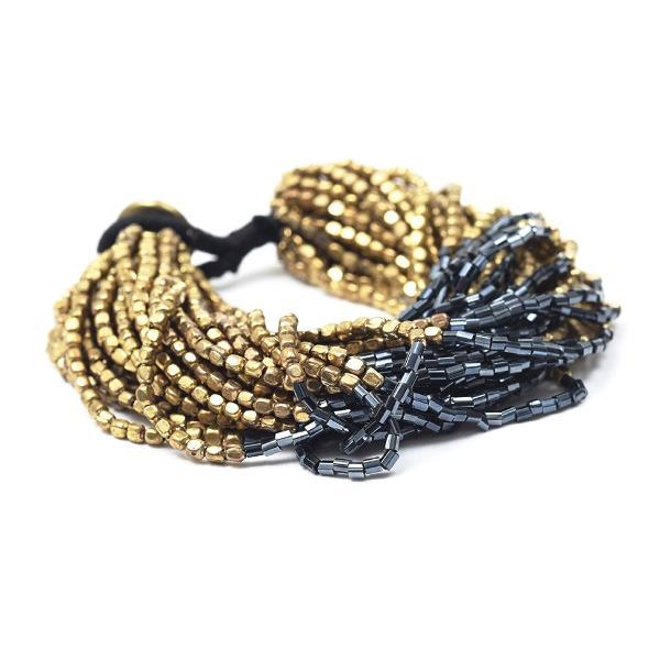 INK ALLOY Multi Strand Gold and Blue Bead Bracelet-INK + ALLOY-The Bugs Ear