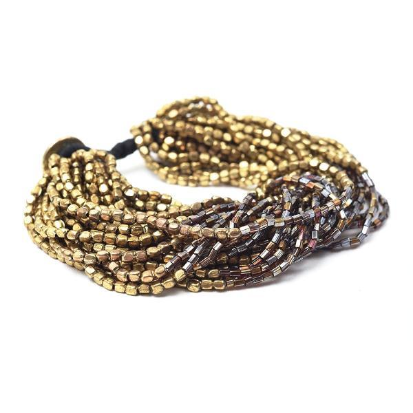 INK ALLOY Multi Strand Gold and Brown Bead Bracelet-INK + ALLOY-The Bugs Ear