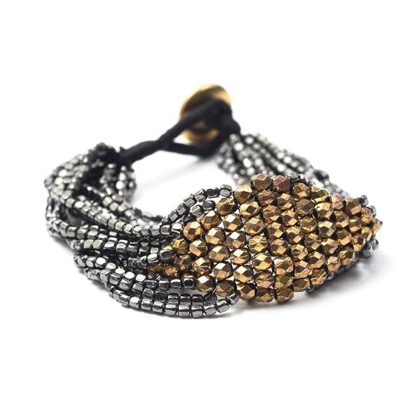 INK ALLOY Multi Strand Gold and Gunmetal Bead Bracelet-INK + ALLOY-The Bugs Ear