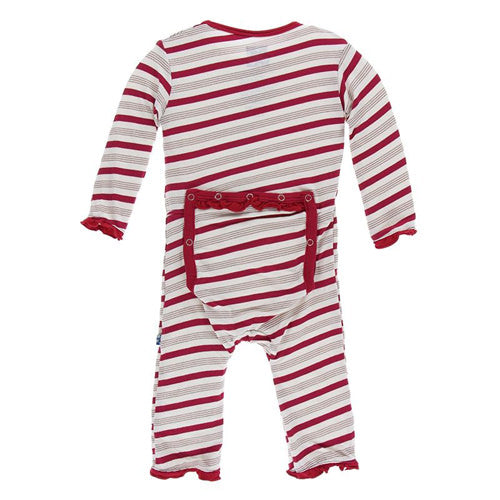 KicKee Pants Holiday Print Classic Ruffle Coverall Snaps in Rose Gold Candy Cane Stripe-KicKee Pants-The Bugs Ear