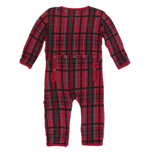 KicKee Pants Holiday Print Coverall with Snaps in Christmas Plaid-KicKee Pants-The Bugs Ear