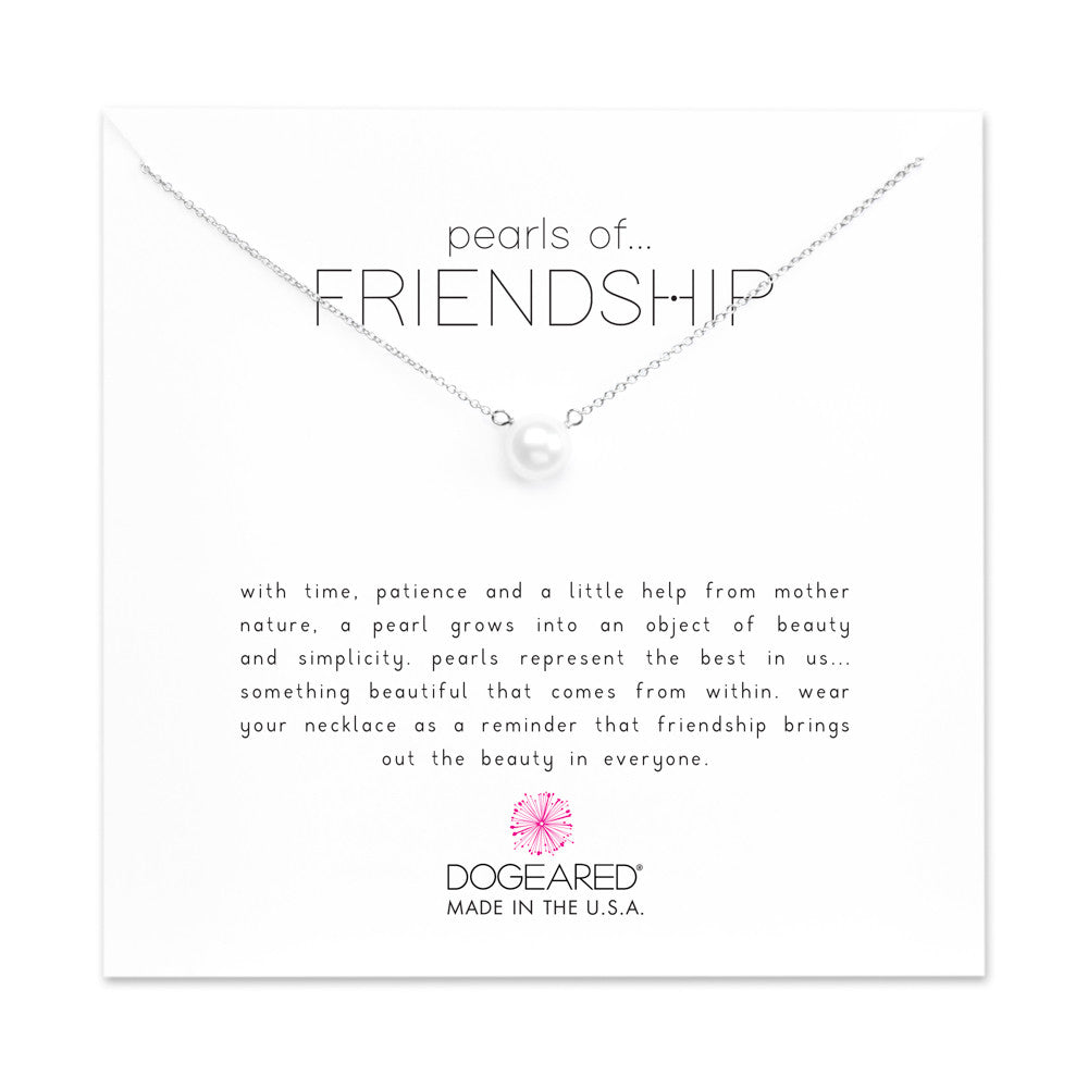 Dogeared Pearls of Friendship White Pearl Necklace, Sterling Silver-Dogeared-The Bugs Ear