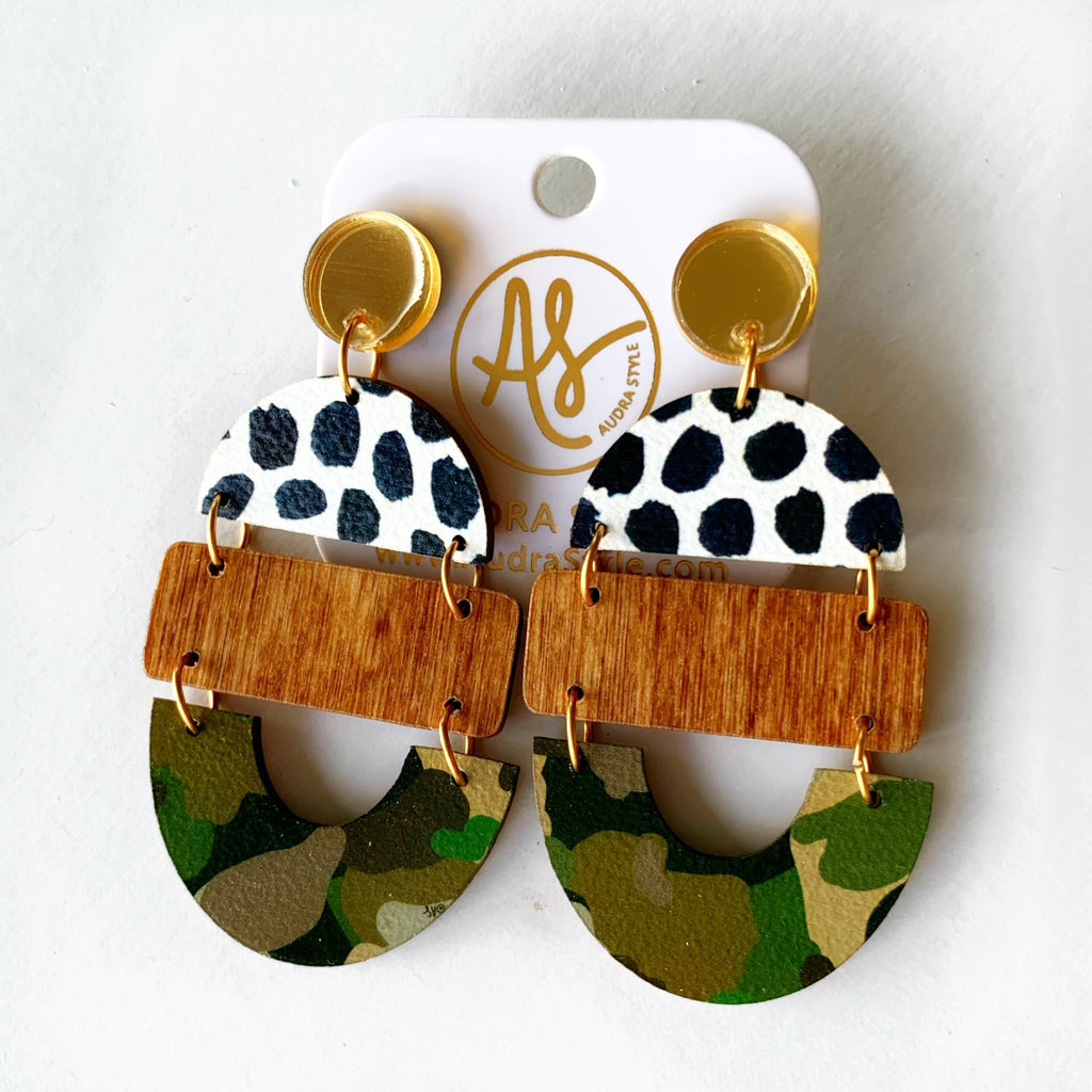 Audra Style Bela - Gold Mirror Black Dot Wood Camo-Audra Style-The Bugs Ear