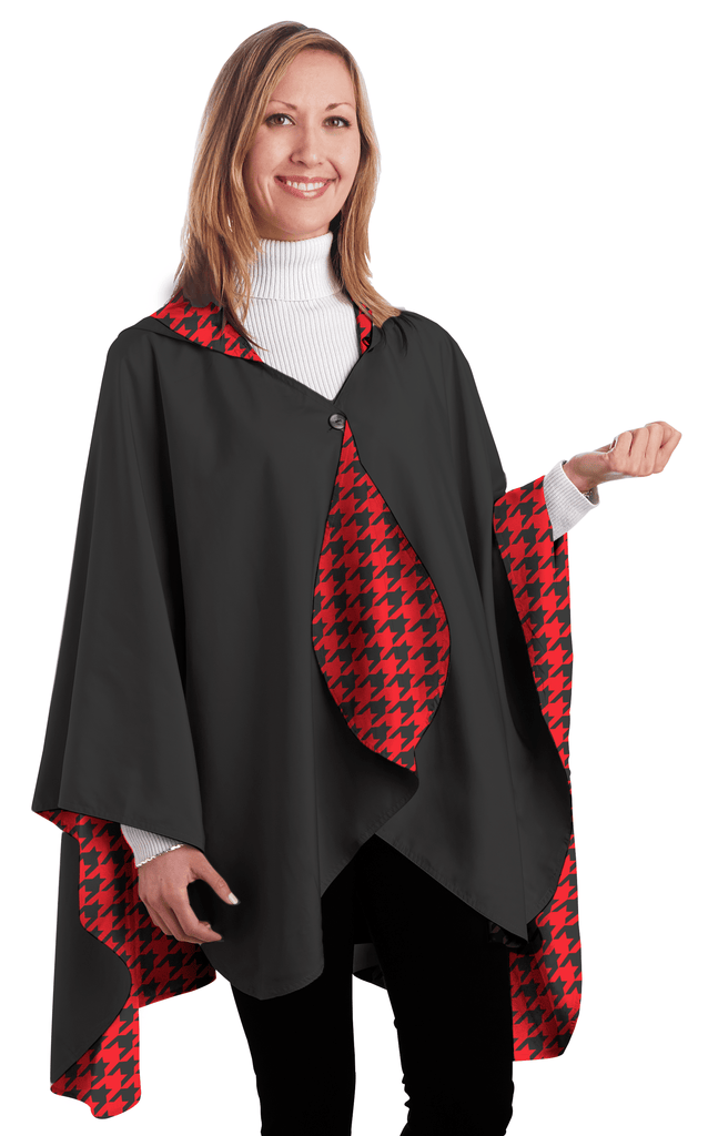 RainCaper Reversible Rain Cape in Black With Crimson Houndstooth-RainCaper-The Bugs Ear