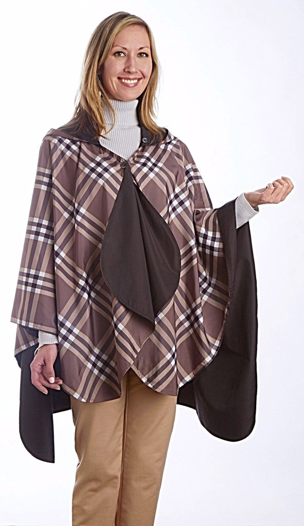 RainCaper Reversible Rain Cape in Black With Coco Plaid-RainCaper-The Bugs Ear