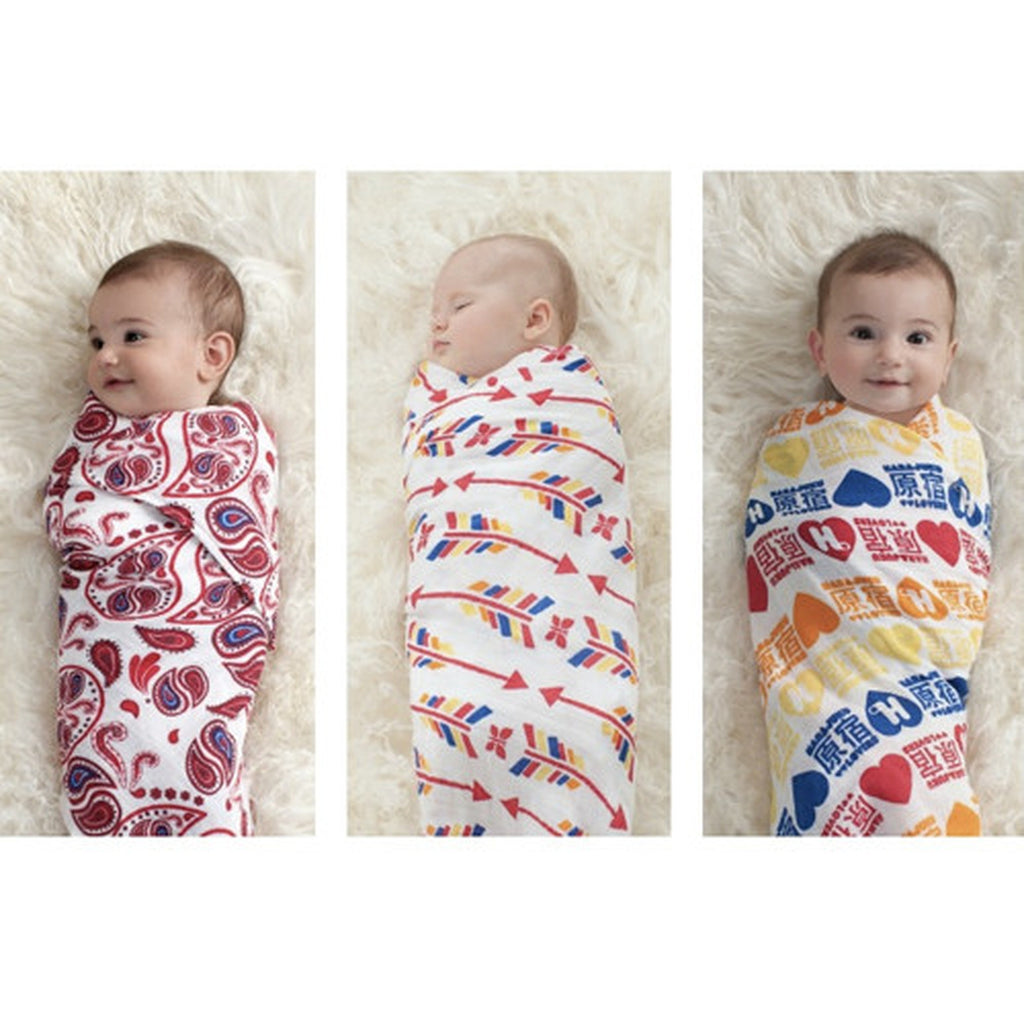 Aden and Anais 3 Pack Organic Swaddles Product RED-Aden + Anias-The Bugs Ear