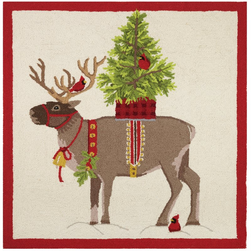 Reindeer With Christmas Tree Hook Pillow-Peking Handicraft-The Bugs Ear