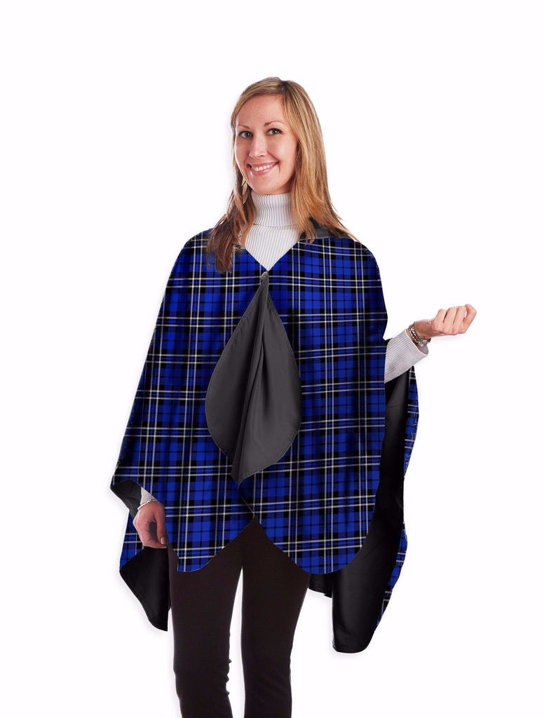 RainCaper Reversible Rain Cape in Black With Royal Tartan Design-RainCaper-The Bugs Ear