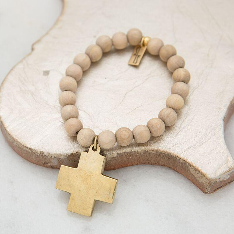 Stone Stick Cross Stretch Bracelet in Sand-Stone Stick-The Bugs Ear