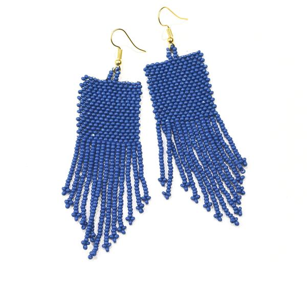 INK ALLOY Seed Bead Earring with Fringe Lapis-INK + ALLOY-The Bugs Ear