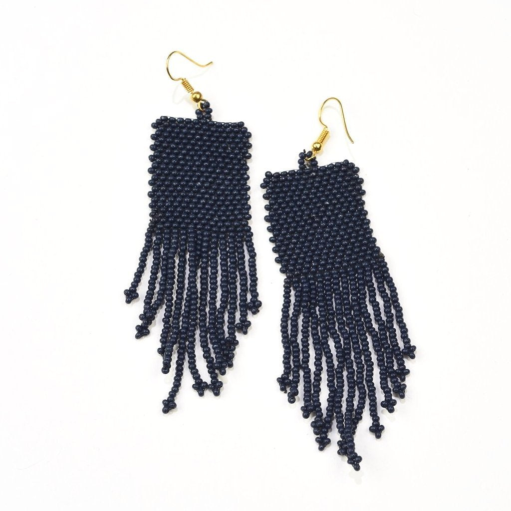 INK ALLOY Seed Bead Earrings with Fringe Navy Blue-INK + ALLOY-The Bugs Ear