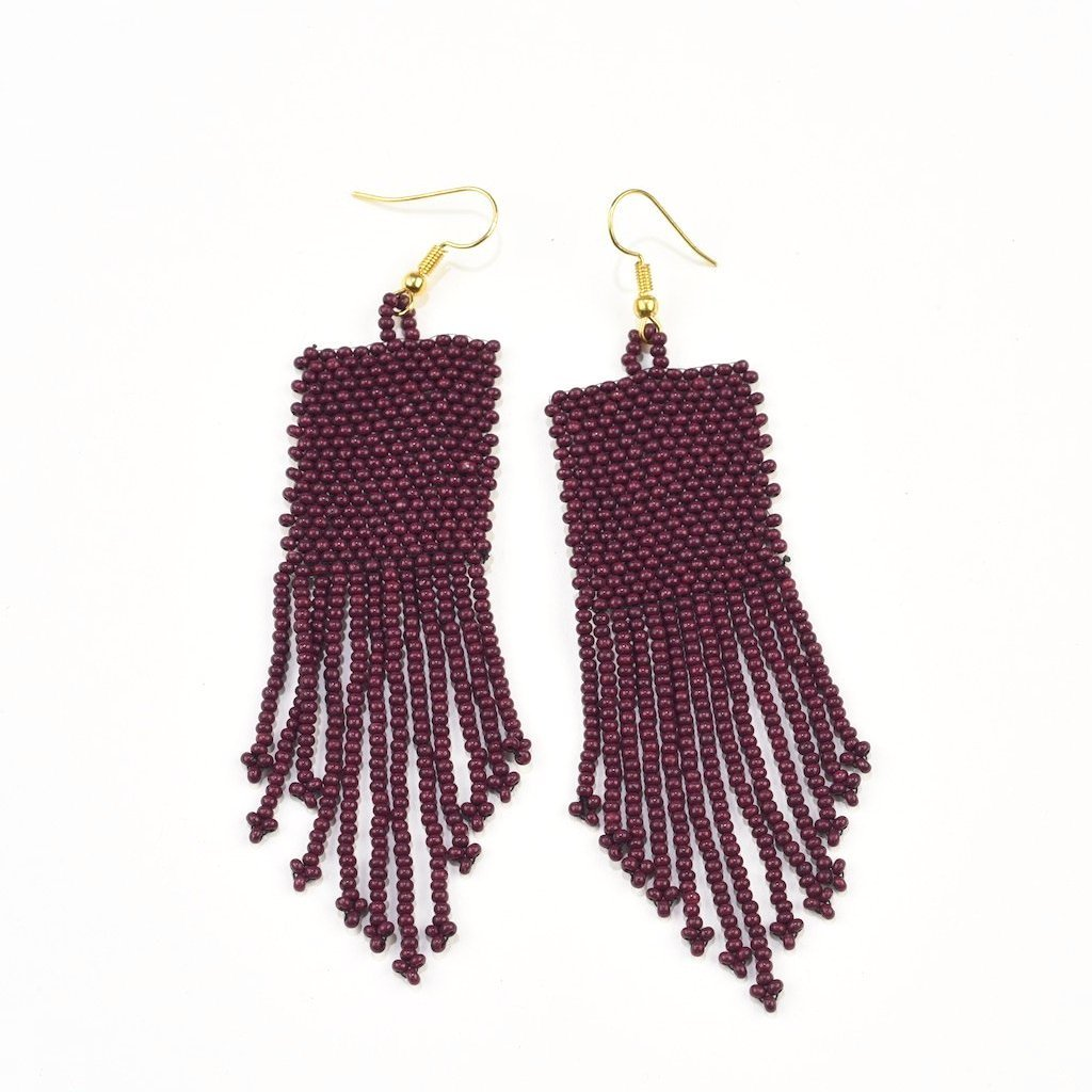 INK ALLOY Seed Bead Earring with Fringe, Port-INK + ALLOY-The Bugs Ear