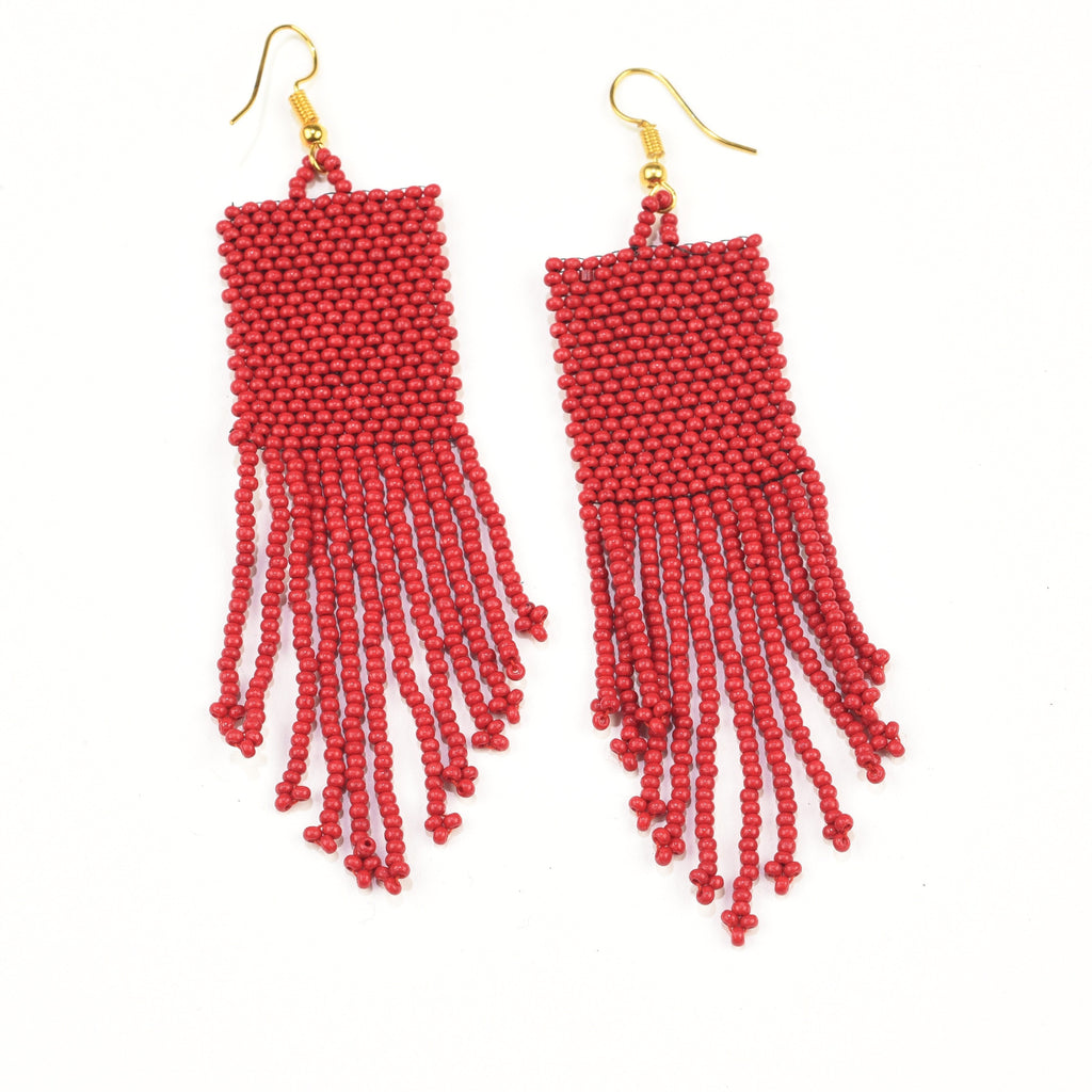 INK ALLOY Seed Bead Earring with Fringe Red-INK + ALLOY-The Bugs Ear