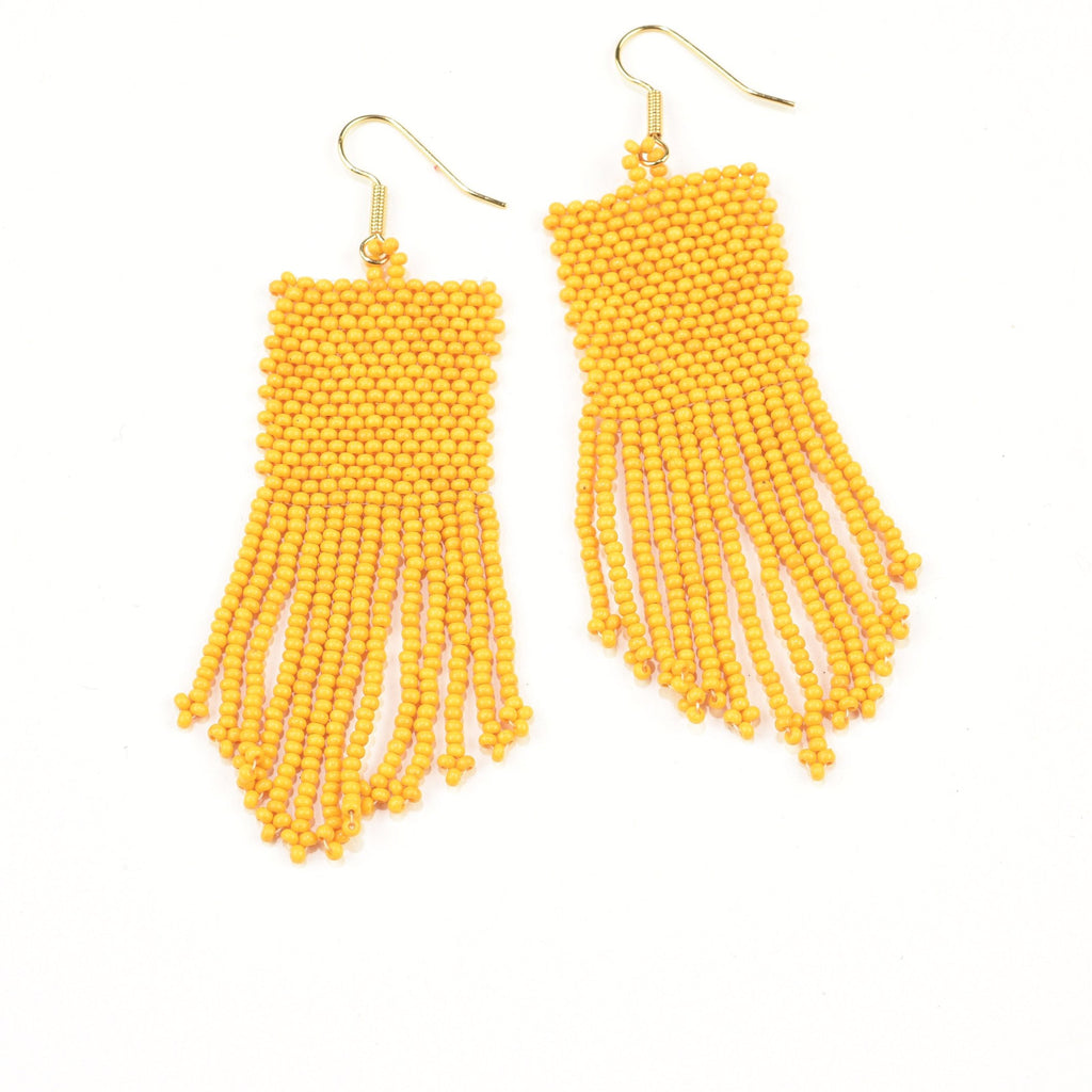 INK ALLOY Seed Bead Earring with Fringe in Yellow-INK + ALLOY-The Bugs Ear
