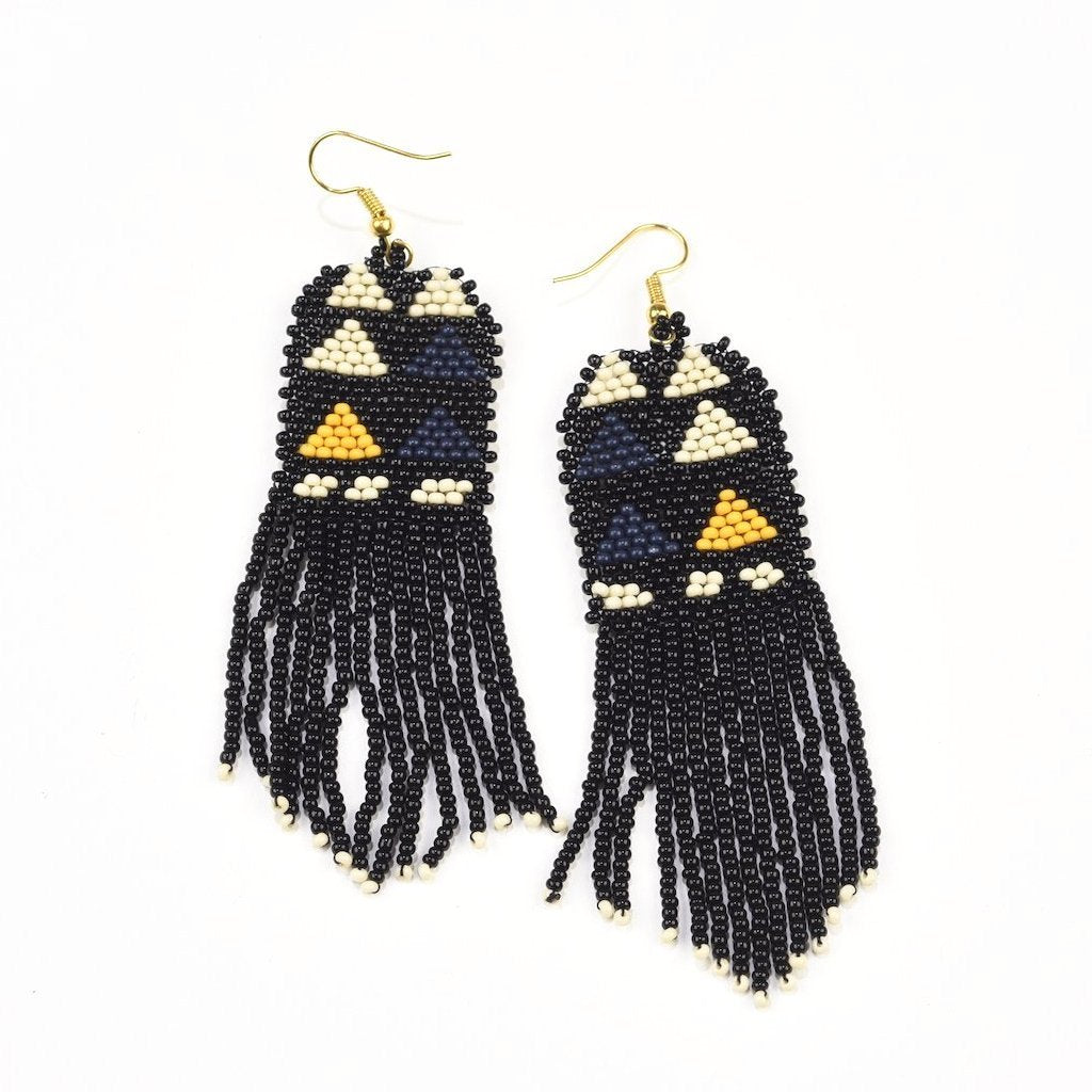 INK ALLOY Seed Bead Earring-Black, Ivory and Navy Diamond with Fringe-INK + ALLOY-The Bugs Ear