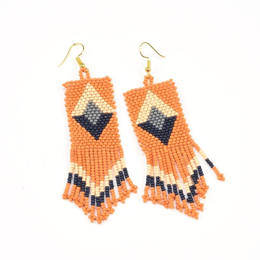 INK ALLOY Seed Bead Earring with Fringe, Tumeric, Navy and Pink Diamond-INK + ALLOY-The Bugs Ear
