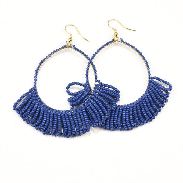 "INK ALLOY Seed Bead Earring Hoop with Fringe 2.5"" Lapis-INK + ALLOY-The Bugs Ear"