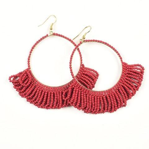 "INK ALLOY Seed Bead Earring Hoop with Fringe 2.5"" Red-INK + ALLOY-The Bugs Ear"