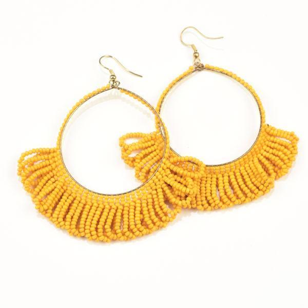 "INK ALLOY Seed Bead Earring Hoop with Fringe 2.5"" Mustard-INK + ALLOY-The Bugs Ear"