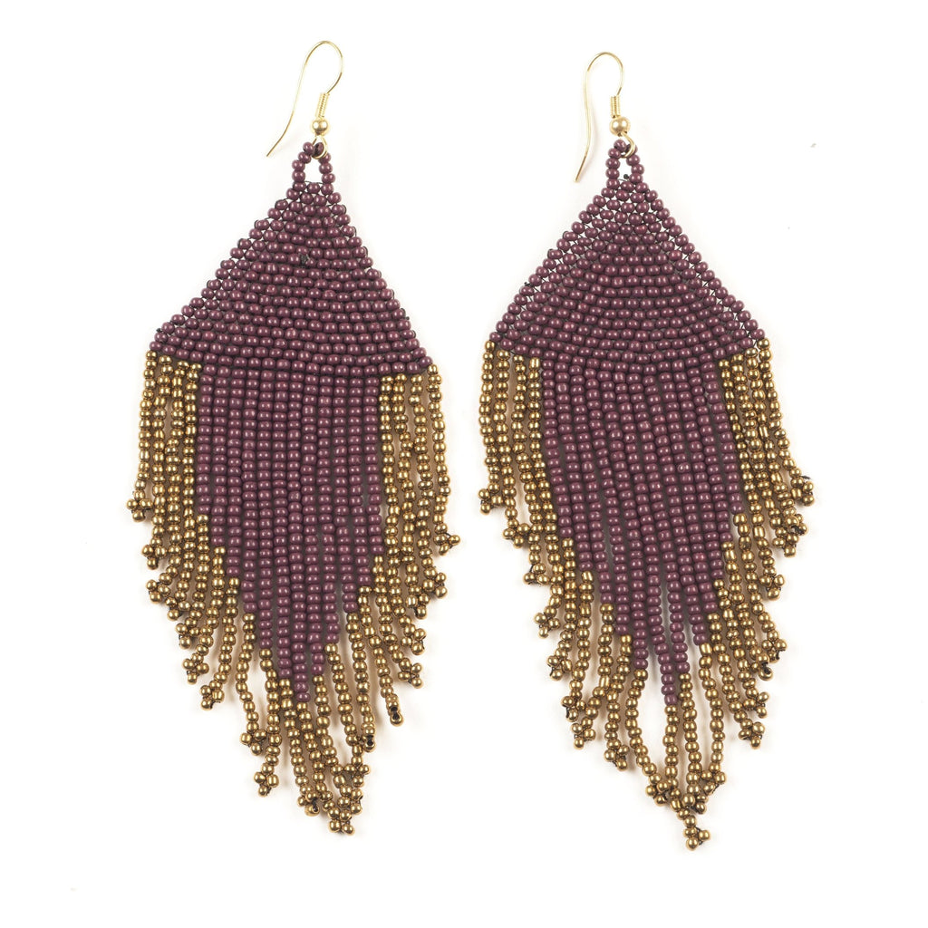 INK ALLOY Port and Gold Fringe Earrings-INK + ALLOY-The Bugs Ear