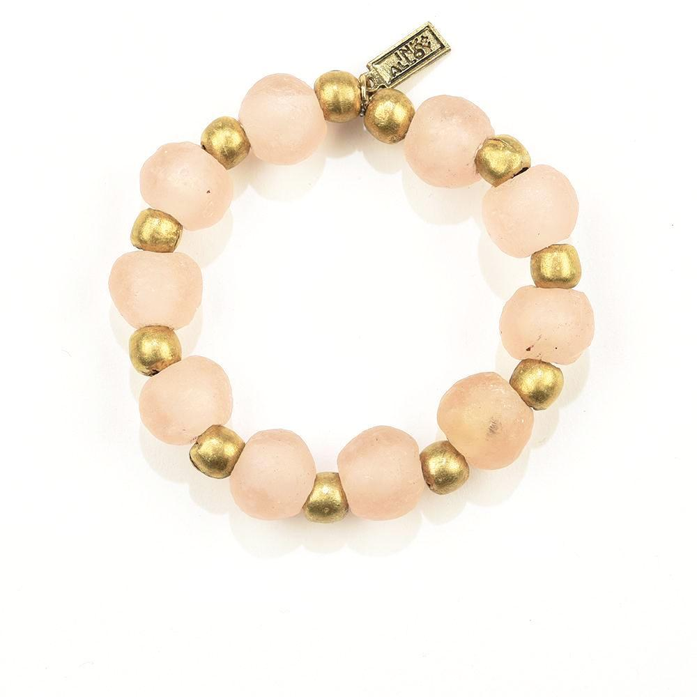 INK ALLOY Ghana Glass Recycled Glass and Brass Bead Stretch Bracelet Pink-INK + ALLOY-The Bugs Ear