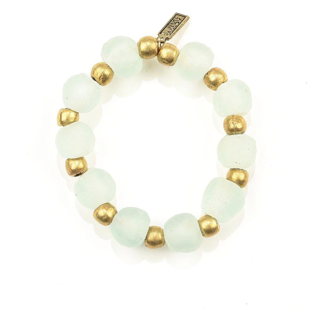 INK ALLOY Ghana Glass Recycled Glass and Brass Bead Stretch Bracelet Clear-INK + ALLOY-The Bugs Ear