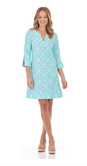 Jude Connally Megan Dress in Graphic Geo Soft Aqua-Jude Connally-The Bugs Ear