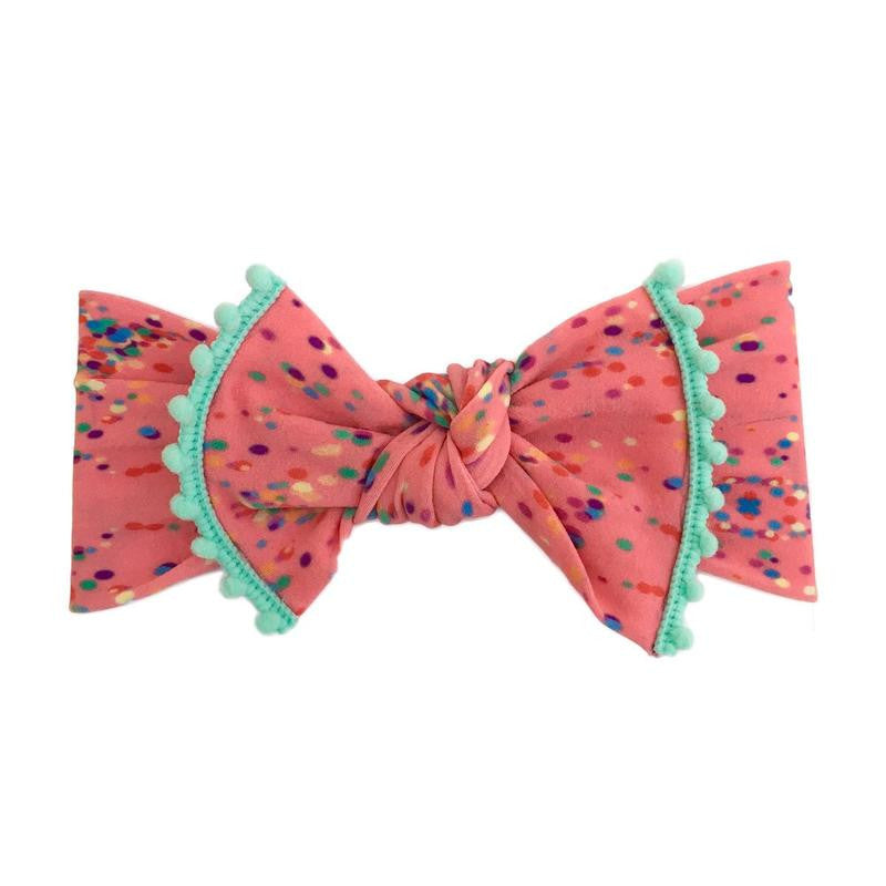 Baby Bling Trimmed Printed Knot Confetti Mint-Baby Bling-The Bugs Ear