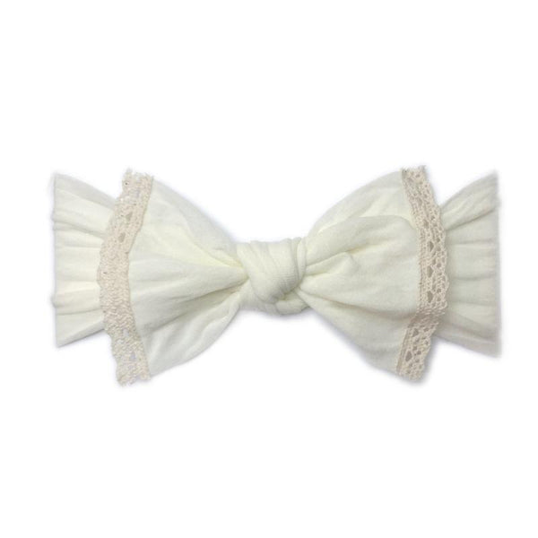Baby Bling Trimmed Knot Headband Ivory Lace-Baby Bling-The Bugs Ear