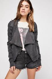 Shrunken Moto Cardi Black-Free People-The Bugs Ear