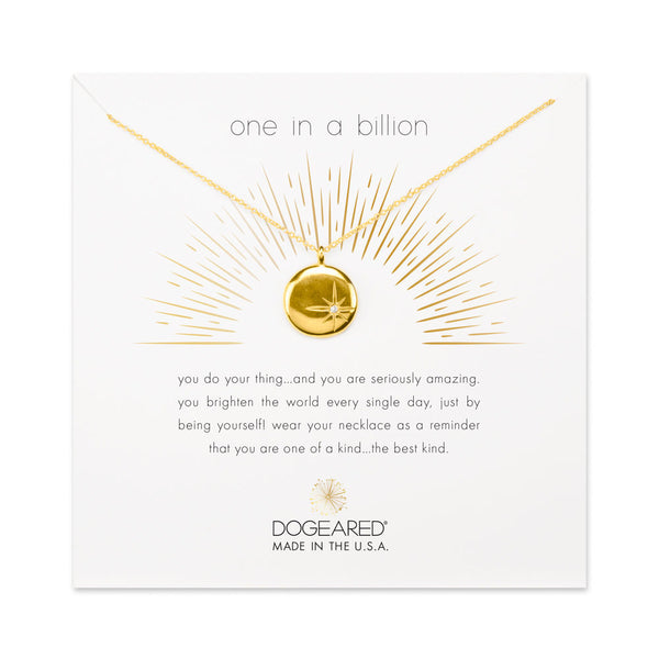 Dogeared One in a Billion Sparkle Star Disc in Gold-Dogeared-The Bugs Ear