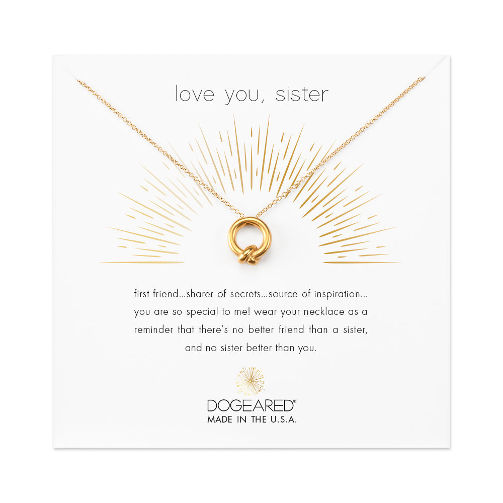 "Dogeared Love You, Sister, Together Knot Charm, 16"" w/ 2"" ext., Gold Dipped, Necklace-Dogeared-The Bugs Ear"